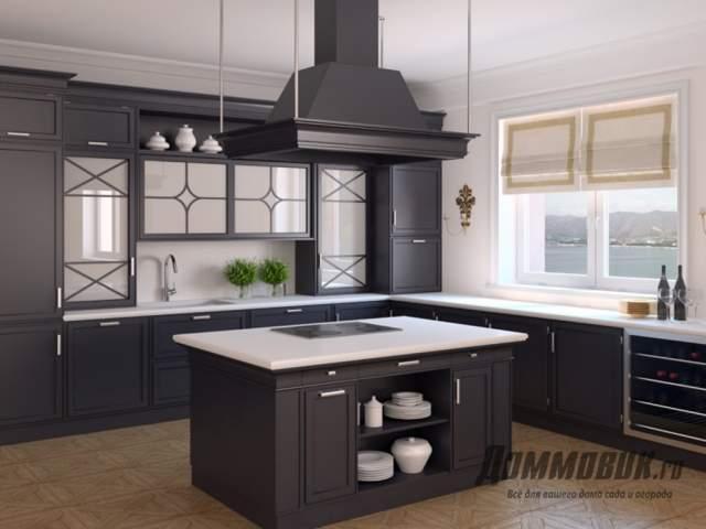 Дизайн кухни в загородном доме островная