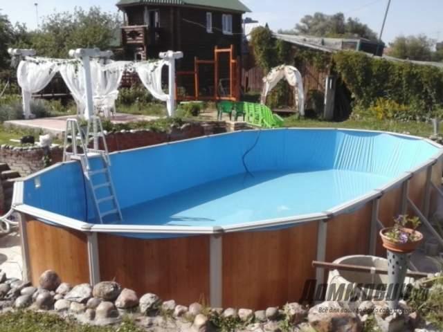 Как обустроить бассейн на даче фото работ