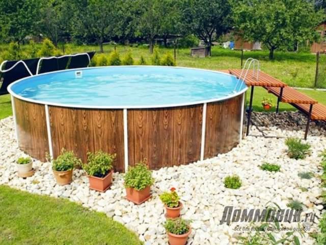 Как обустроить каркасный бассейн на даче результат на фото