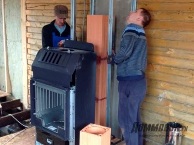 Как происходит установка печи камина на даче