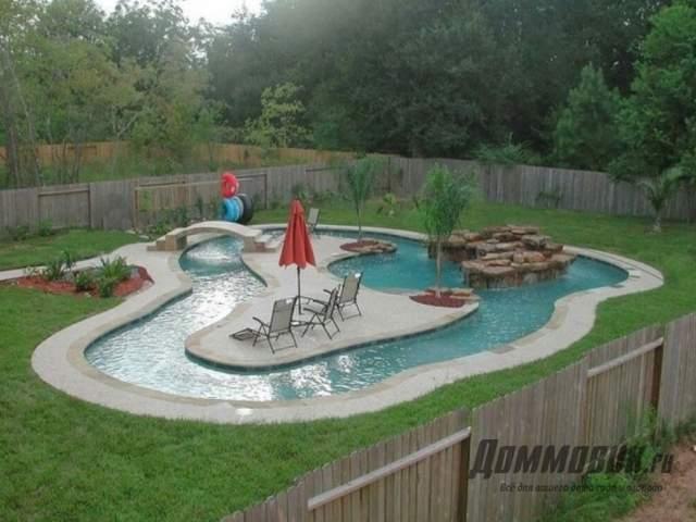 Зона отдыха с бассейном на даче пример с фото