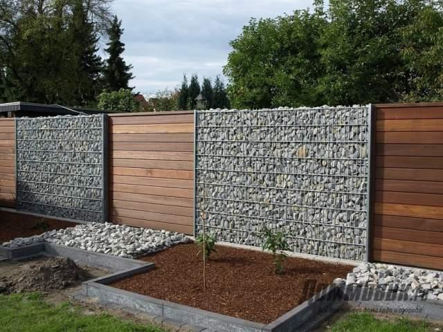 Забор на даче габионовый - идеи и фото