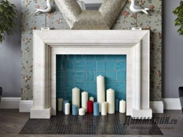 Имитация необычного камина в интерьере гостиной фото