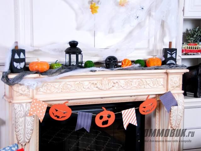 Имитация камина в квартире на Хэллоуин