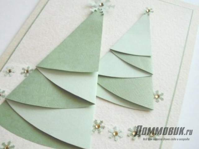 Елочка на открытке в технике оригами
