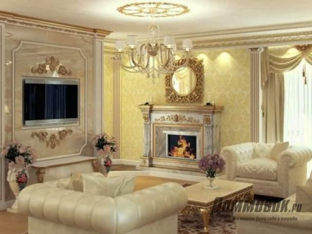 Дизайн зала с камином
