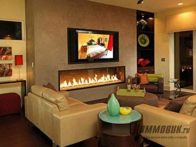 Дизайн комнаты с камином и телевизором