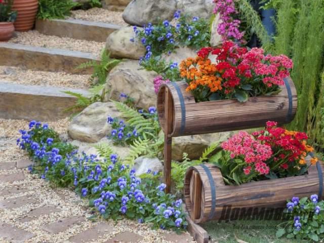 цветы в бочонках