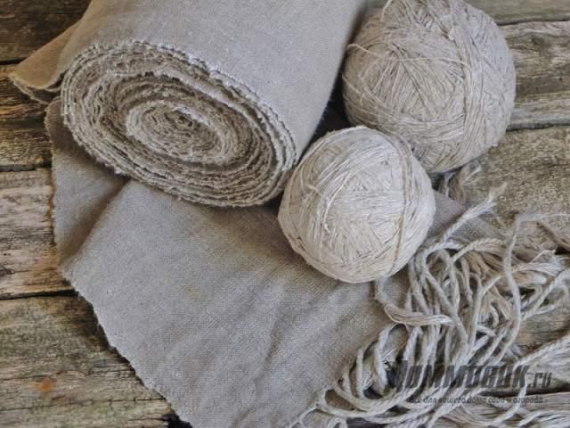 домотканое льняное полотно и нитки