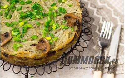 Запеканка с грибами и картофелем слоеная